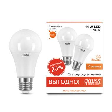 Gauss Лампа Gauss LED Elementary A60 14W E27 2700K 1/50 (2 лампы в упаковке) cisa12011 60 50 в москве