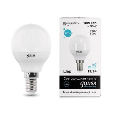 Gauss Лампа Gauss LED Elementary Globe 10W E14 4100K 1/10/100 лампа gauss led elementary globe 10 w e 14 2700 k 53110