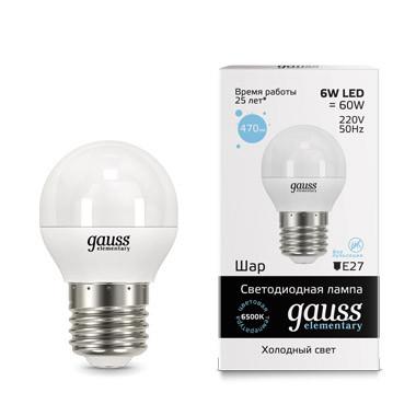 Gauss Лампа Gauss LED Elementary Globe 6W E27 6500K 1/10/100 лампа gauss led elementary globe 6w e 27 2700 k 53216