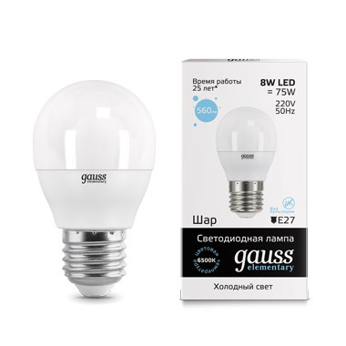 Gauss Лампа Gauss LED Elementary Globe 8W E27 6500K 1/10/100