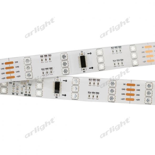 Arlight Лента 5 метров SPI-5000SE 12V RGB (5060, 480 LED x3,1812) лента arlight 013341