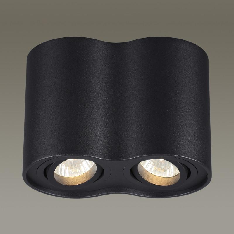 Odeon Light 3565/2C ODL18 115 черный Потолочный накладной светильник IP20 GU10 2*50W 220V PILLARON odeon light потолочный светильник odeon light pillaron 3565 2c