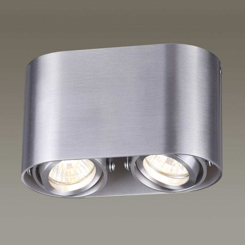 Odeon Light 3576/2C ODL18 121 матовый алюминий Потолочный накладной светильник IP20 GU10 2*50W 220V MONTALA потолочный светильник odeon light montala 3576 1c