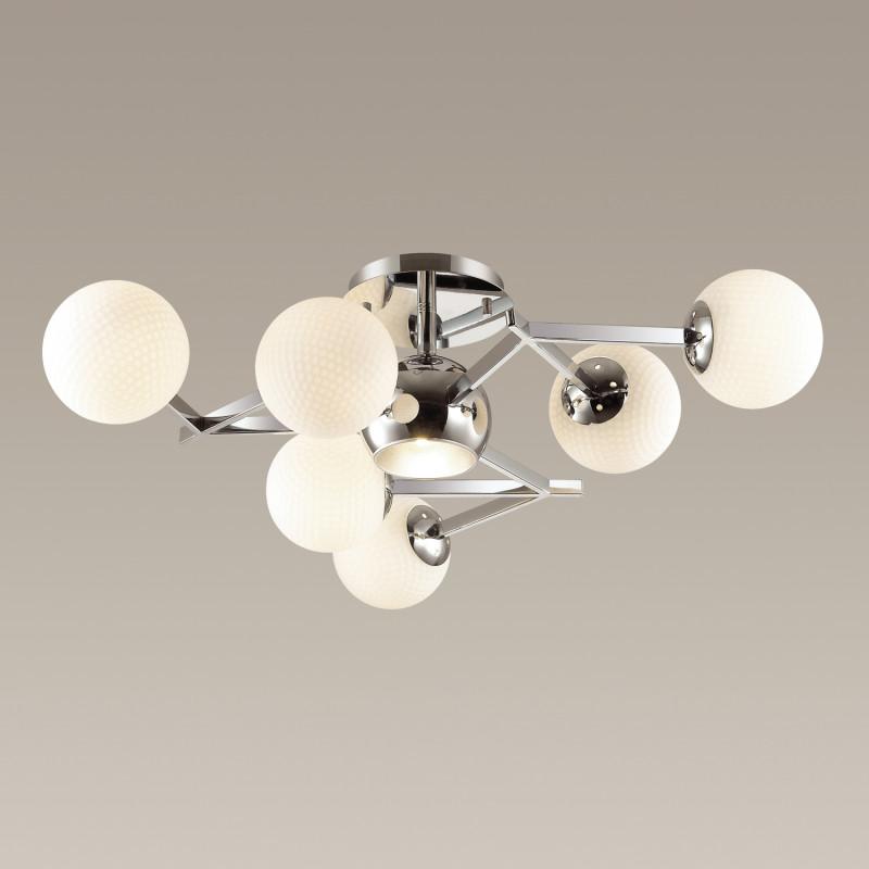 Фото Odeon Light 3960/7C ODL18 146 хром/белый/серебристый Люстра потолочная IP20 E27 7*60W 220V IZZO. Купить с доставкой