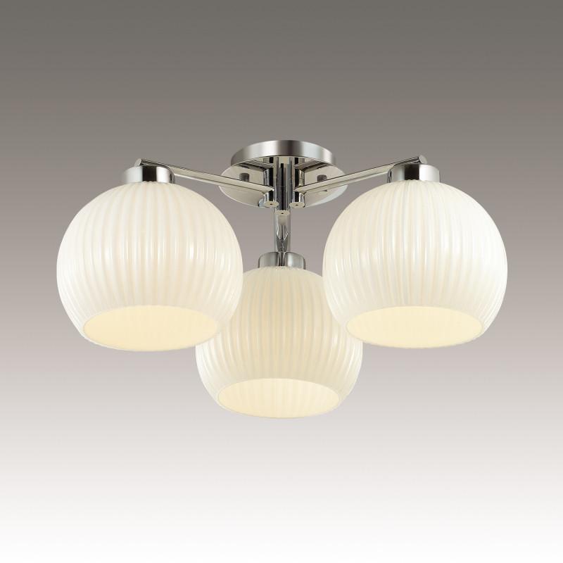 Odeon Light 3971/3C ODL18 148 хром/белый Люстра потолочная IP20 E27 3*60W 220V MICCA odeon light потолочная люстра odeon light micca 3971 6c