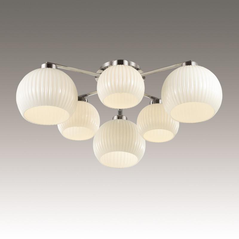Odeon Light 3971/6C ODL18 148 хром/белый Люстра потолочная IP20 E27 6*60W 220V MICCA odeon light потолочная люстра odeon light micca 3971 6c