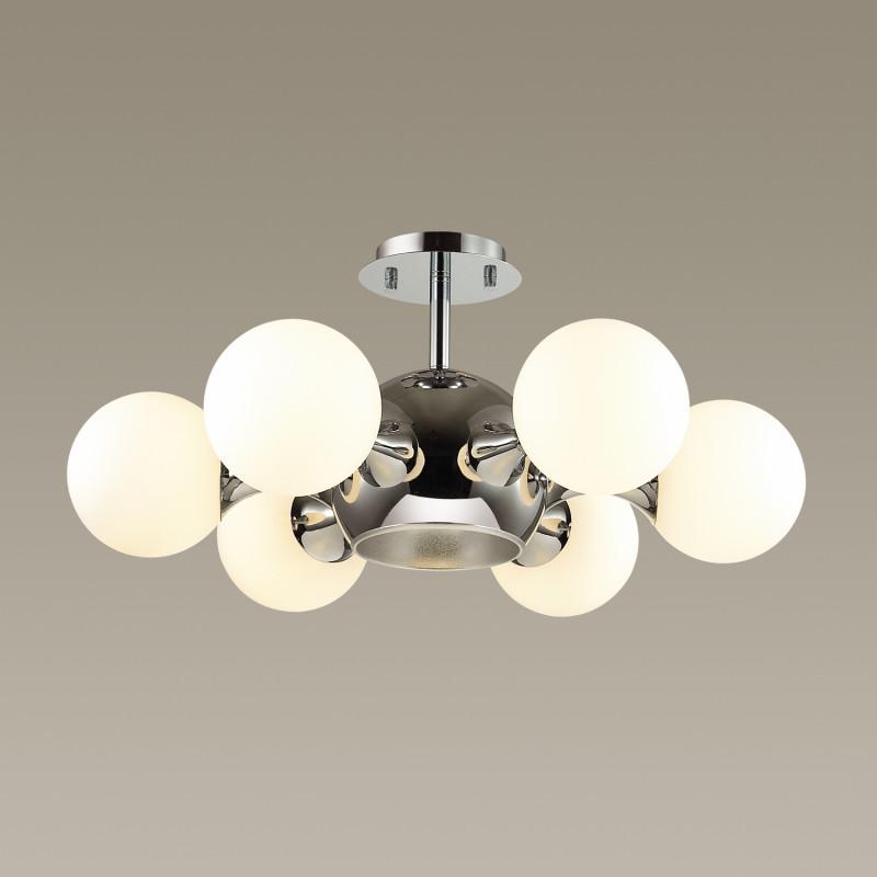 Odeon Light 3972/7C ODL18 144 хром/белый Люстра потолочная IP20 E27, E14 60W, 6*40W 220V MIOLLA miolla нежность c7292 6
