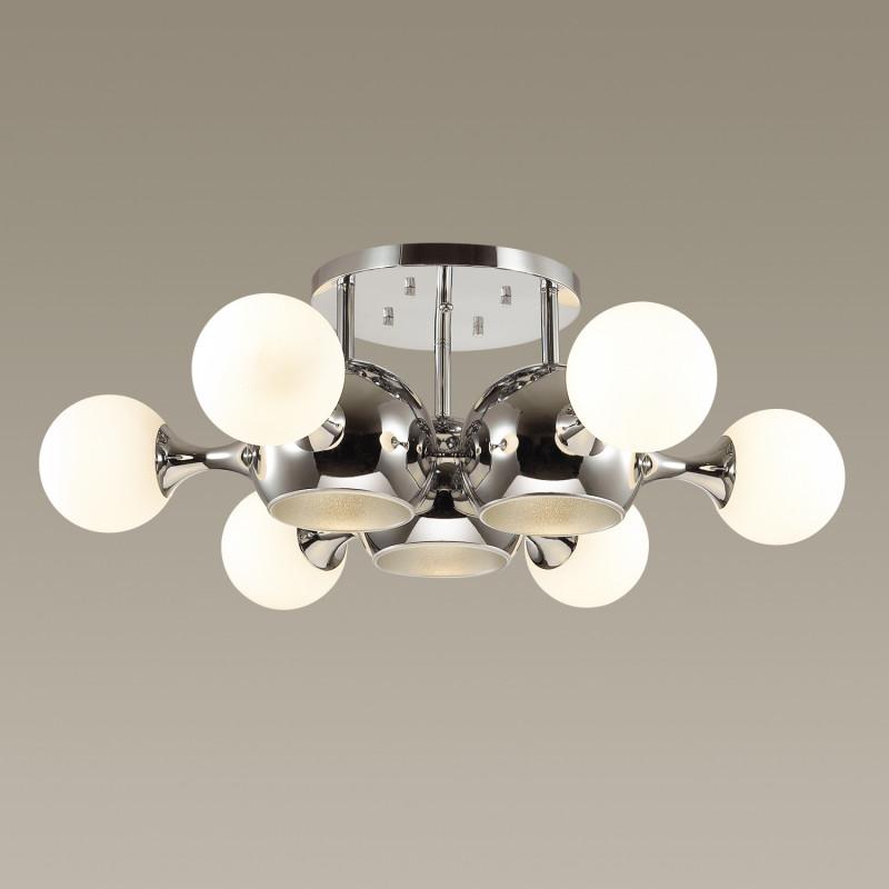 Odeon Light 3972/9C ODL18 145 хром/белый Люстра потолочная IP20 E27, E14 3*60W, 6*40W 220V MIOLLA запонки bertini 6 c 1026 20 e