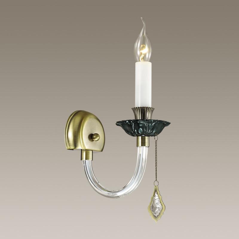 Odeon Light 3985/1W ODL18 374 бронзов/прозрачн/зелен/хрусталь Бра IP20 E14 40W 220V ARIZZI odeon light бра odeon light arizzi 3985 1w