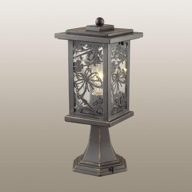 Odeon Light 4038/1B ODL18 721 черный/золотая патина Уличный светильник на столб IP44 E27 100W 220V PAPION фоновая декорация 1 5 2 2 s 4038 s 4038