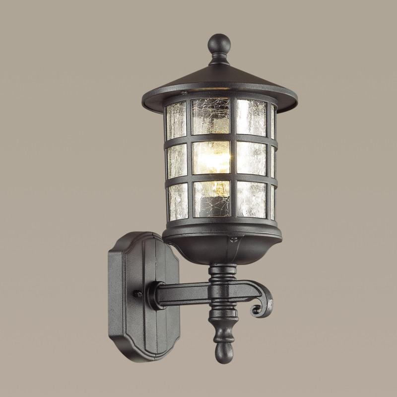 Odeon Light 4043/1W ODL18 725 черный Уличный настенный светильник IP44 E27 60W 220V HOUSE