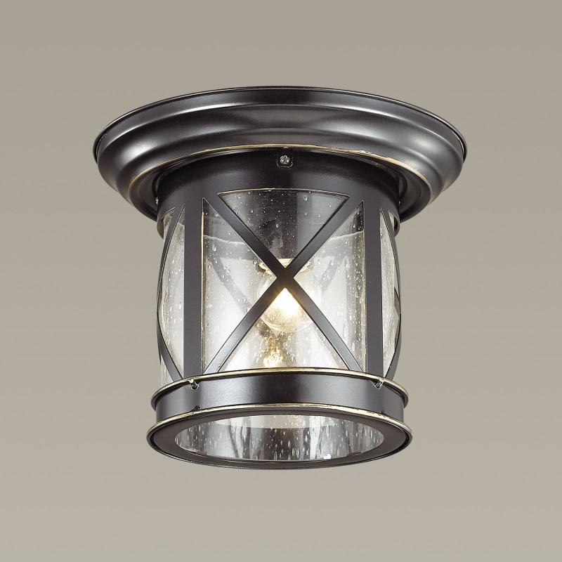 Odeon Light 4045/1C ODL18 716 черный/золотая патина Уличный потолочный светильник IP44 E27 60W 220V SATION dt 4045