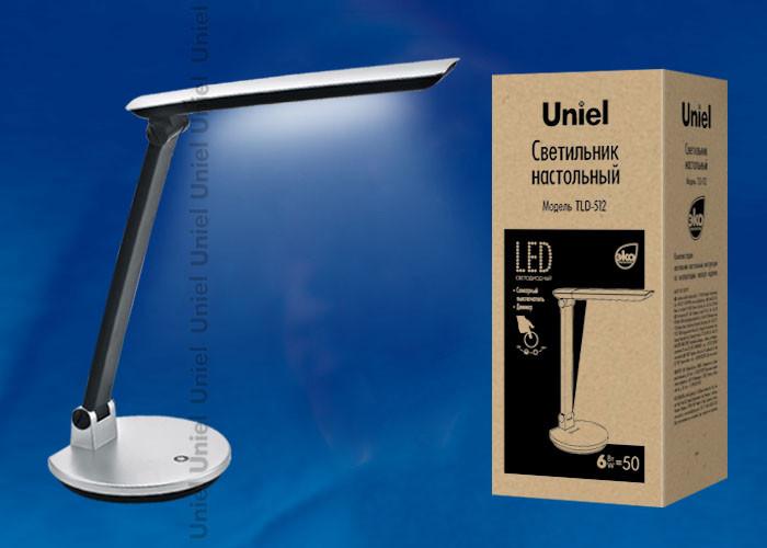 Uniel TLD-512 Silver/LED/550Lm/4500K/Dimer светильник настольный uniel led tld 515 светодиодный с диммером цвет серый 9 вт