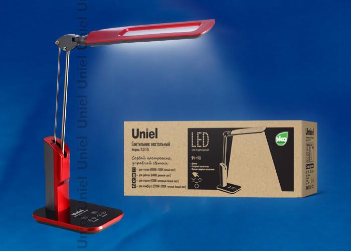 Uniel TLD-515 Red/LED/900Lm/2700-6400K/Dimmer светильник настольный uniel led tld 515 светодиодный с диммером цвет серый 9 вт