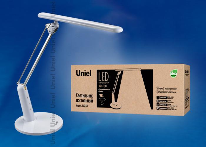 Uniel TLD-519 White/LED/800Lm/2700-6400K/Dimmer лампа настольная uniel tld 519 white led 800lm 2700 6400k dimmer