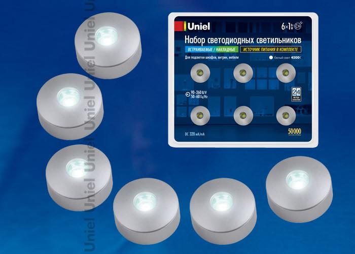 Uniel ULM-R04-1W*6/NW IP33 SILVER блистер