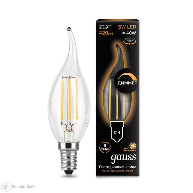 Gauss Лампа Gauss LED Filament Candle tailed dimmable E14 5W 2700K 1/10/50 лампочка gauss led filament candle tailed e14 5w 2700k 104801105