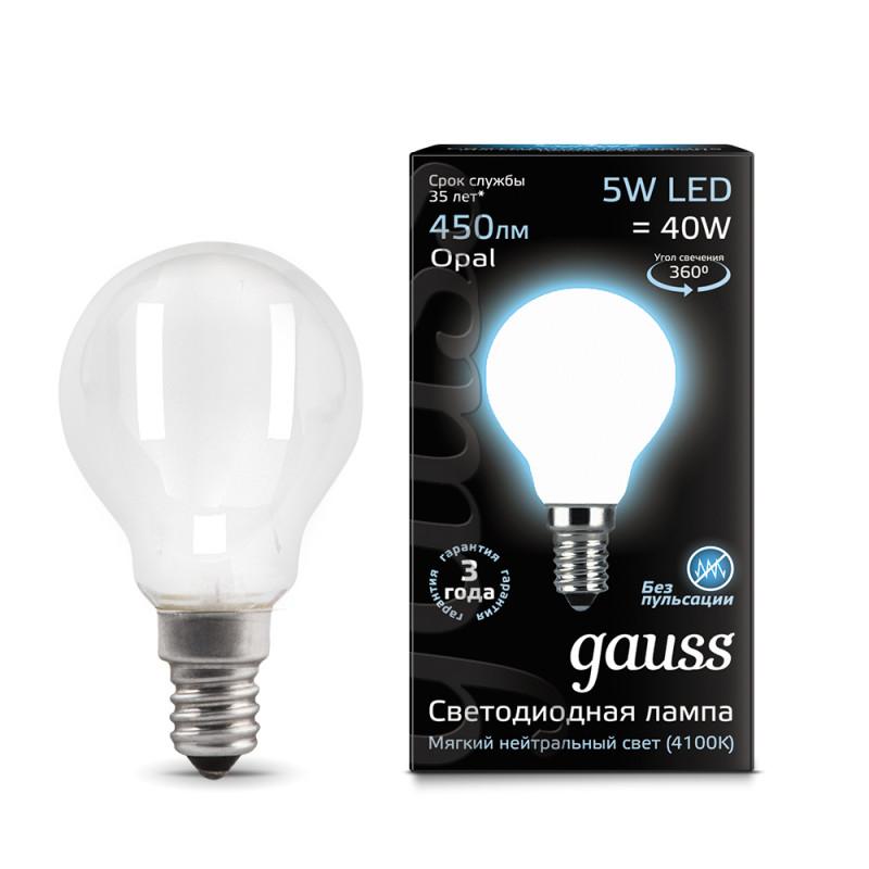Gauss Лампа Gauss LED Filament Globe OPAL E14 5W 4100K 1/10/50 gauss лампа светодиодная gauss led filament globe e14 7w 4100k 1 10 50 105801207