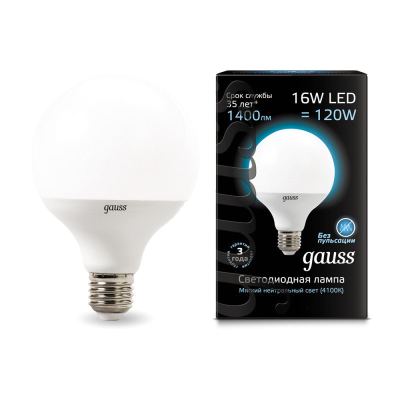 Gauss Лампа Gauss LED G95 E27 16W 4100K 1/32