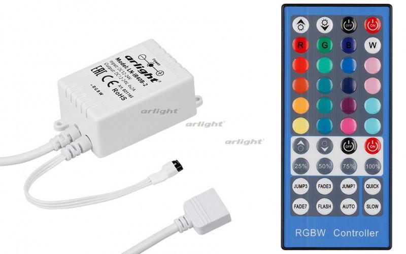 Arlight Контроллер LN-IR40B-2 (RGBW,12-24V,96-192W, ПДУ 40кн) arlight контроллер hx 801sb 2048 pix 5 24v sd card