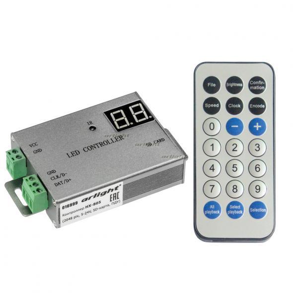 Arlight Контроллер HX-805 (2048 pix, 5-24V, SD-карта, ПДУ) hengfu powe switch 24v hf60w sd 24 24 hengfu