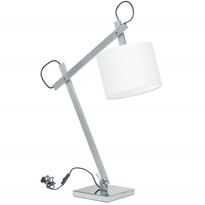 Lightstar 766919 (MT2344-S) Настольная лампа MECCANO (2 КОР!) 1x60W E27 ХРОМ/БЕЛЫЙ ткань (в комплекте) бра lightstar meccano 766619